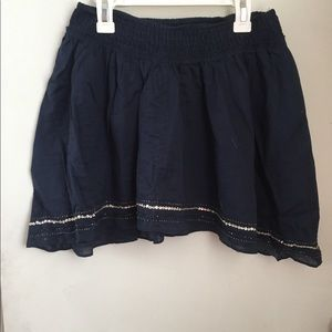 Navy skirt with beaded and sequined accent